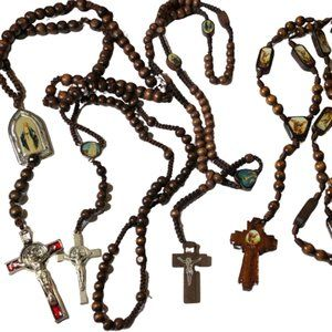 Bundle / Lot of 4 Wooden Bead Rosaries / Crosses